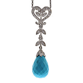 14K White Gold with Turquoise & 0.18ct Diamonds Pendant Necklace