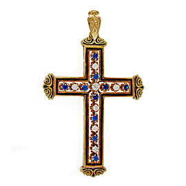 Vintage 14k Yellow Gold & Black Enamel Sapphire Diamond Cross Pendant
