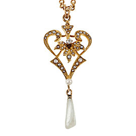 Vintage 14k Yellow Gold Freshwater Cultured Pearl and Diamond Pendant