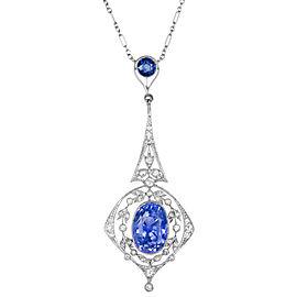 Platinum with 0.50ct Diamond & Sapphire Pendant Necklace