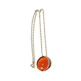 14K Yellow Gold Phantom Reddish Brown Carnelian Diamond Pendant Necklace