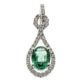 14K White Gold Green Emerald Diamond Pendant