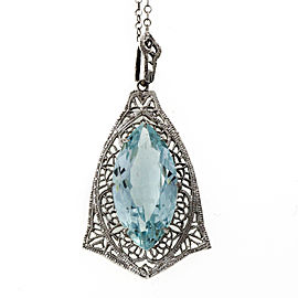 14K White Gold 5.15ct Marquise Aquamarine Filigree Vintage Art Deco Pendant Necklace