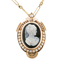 Victorian 1880 14k Pink Gold Carved Hardstone Cameo Pendant Natural Pearl