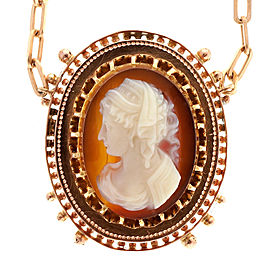 14K Rose Gold with Carved Carnelian Hardstone Cameo Pendant Vintage Necklace