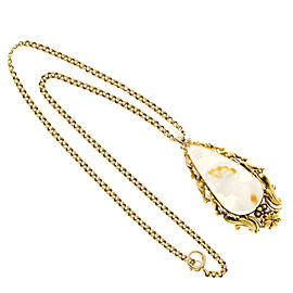 Vintage 14K Yellow Gold Shell Cameo Pendant Neclace