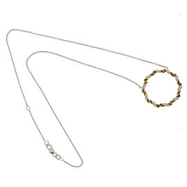 18K Rose & White Gold with 0.15ct. Diamond Wire Circle Pendant Necklace