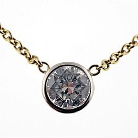 18k Yellow Gold .95ct Brilliant Cut Diamond Pendant Necklace