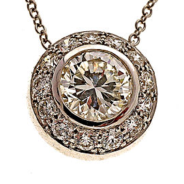 18K White Gold with 0.74ct By The Yard Halo Diamond Pendant Necklace