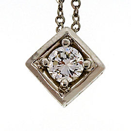 Platinum .20ct Round Diamond Square Pendant Necklace