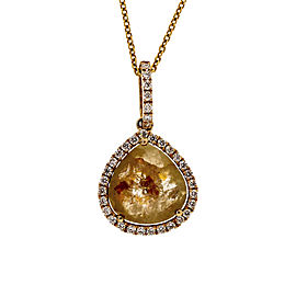 14K Pink Gold 2.16ct Fancy Deep Pinkish Orangy Brown Rose Cut Diamond Slice Pendant Necklace