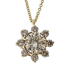 Vintage Estate 1940-1950 1.14ct Transitional Cut Diamond 14k Yellow Gold Necklace