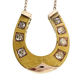 14K Rose and Green Gold Horse Shoe Rose Cut Diamond Vintage Pendant Necklace
