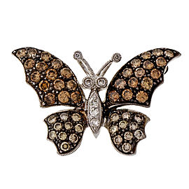 18k White Gold Butterfly Golden Brown Diamond 1.72ct Pin/Pendant