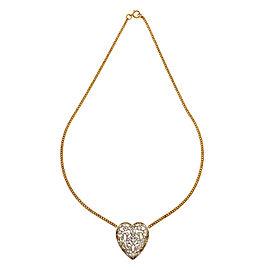 Vintage Platinum 14k Yellow Gold Vine Design Diamond Heart Necklace