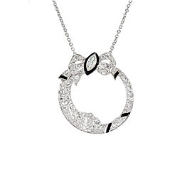Platinum and 14k White Gold Black Enamel Diamond Bow Vintage Pendant Necklace