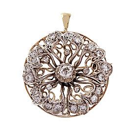 Vintage Sterling Silver 14k Yellow Gold Pin Pendant Diamond Pin/Pendant