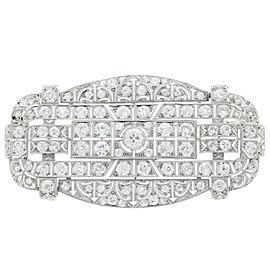 Vintage 14K White Gold and Platinum Old European Cut Diamonds Large Art Deco Pin