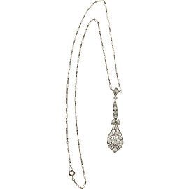 Platinum Lavalier Diamonds Dangle Vintage Edwardian Pendant Necklace