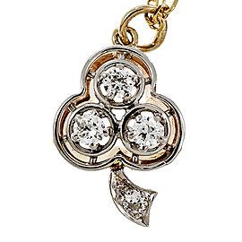 Vintage Victorian 14k Yellow Gold & Platinum Old European Cut Diamond Shamrock Pendant
