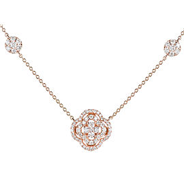14K Pink Gold Diamond Cluster Pendant Necklace