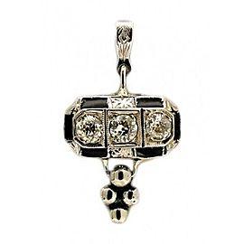 Platinum 1920s Art Deco Black Enamel European Cut Diamond Pendant