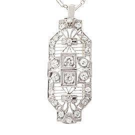 Vintage Art Deco Platinum & 14K White Gold 1.04ct Diamond Pendant & Pin Chain Necklace