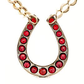 14K Rose Gold with 2.50ct Garnet Horseshoe Vintage Pendant Necklace