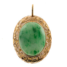 Vintage Art Deco 14K Rose Gold with 12.00ct Jade Pendant