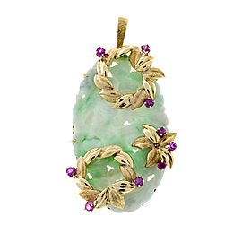 Vintage 18K Yellow Gold Jadeite Jade & Ruby Hand Carved Floral Pendant