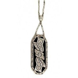 Platinum Onyx & Diamond Edwardian Ribbon Bow Vintage Pendant Chain