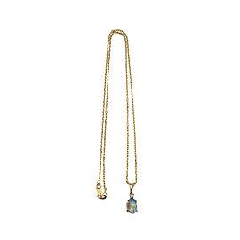 14K Yellow Gold Diamond Black Opal Pendant