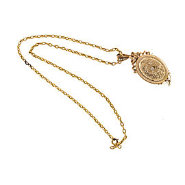 18K Rose Gold Ribbon Filigree Pearl Pin/Pendant Locket Necklace
