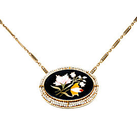 14K Yellow Gold with Stone Inlay Onyx & Pearl Pietra Dura Pendant Necklace
