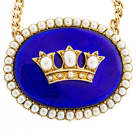 18K Rose Gold & 14K Yellow Gold with Cobalt Blue Enamel & Pearl Gold Pendant Necklace