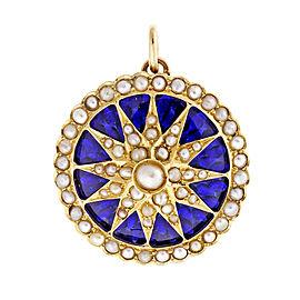 Vintage 18k Yellow Gold Sunburst Design Cobalt Blue Enamel Pendant