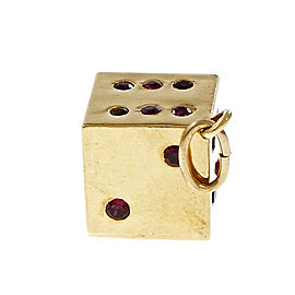 18K Yellow Gold 2.00ctw. Red Ruby Dice Pendant