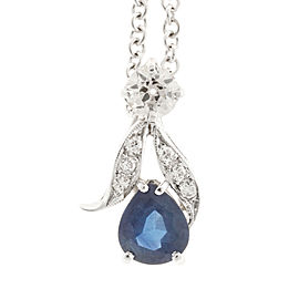 14K White Gold with Sapphire & Diamond Necklace