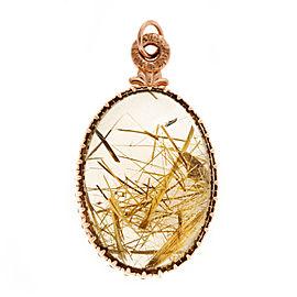 14K Rose Gold 75.00ct Smoky Quartz Rutile Needle Vintage Pendant