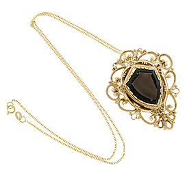 14K Yellow Gold Quartz Vintage Pin Pendant Necklace