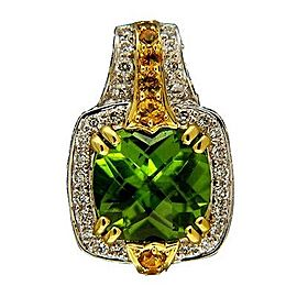 Charles Krypell Yellow Gold Peridot, Sapphire, Diamond Womens Pendant