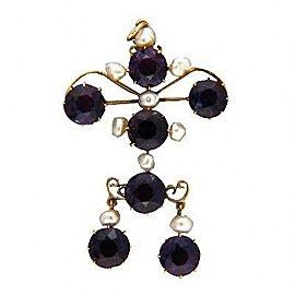 14k Rose Gold Vintage 1890s Amethyst Cultured Pearl Pendant