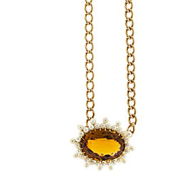 14K Rose Gold with 11.00ct Citrine & Pearl Pendant Necklace