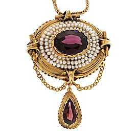 14K Yellow Gold with Domed 3.50ct Garnet & Natural Pearl Pendant Necklace