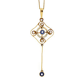 14K Yellow Gold Georgian 0.50ct Montana Sapphire Pearl Pendant Vintage Necklace