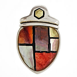 Asch Grossbardt 925 Sterling Silver 18K Yellow Gold Mother Of Pearl Hardstone Inlaid Quartz Pendant