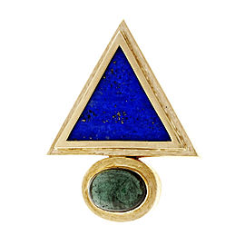 14K Yellow Gold Lapis and Tourmaline Triangle Enhancer Pendant