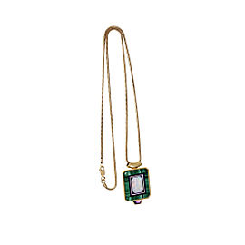 18K & 14K Yellow Gold Hardstone Opal Inlay Pendant Necklace