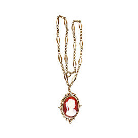 9K & 14K Pink Gold Carnelian Hardstone Pin Pendant Necklace