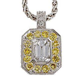 950 Platinum with 0.73ct Emerald Cut Diamond & Fancy Intense Yellow Diamond Necklace
